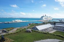 Long cruise pier & cruise ship seen from Commissioner's House Bermuda Maritime Museum.jpg
