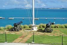 Pair of Cannons next to Flag Pole at Bermuda Maritime Museum grounds.jpg