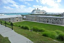 Royal Caribbean Explorer of the Seas docked at King's Wharf viewed from Commsioner's House Bermuda Maritime Museum.jpg