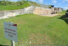 No Vehicles Beyond This Point sign at Bermuda Royal Navy Dockyard.jpg